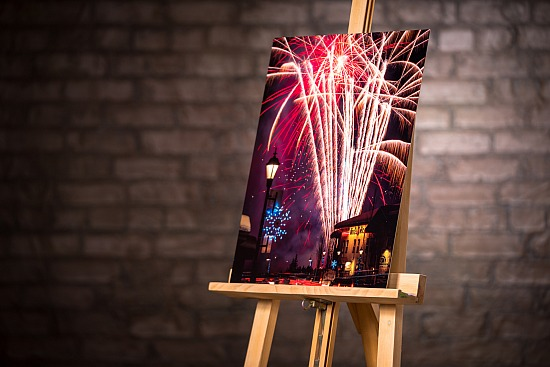CARNIVAL FIREWORKS - METAL ON STANDOUT MOUNT  (16X20 IN)