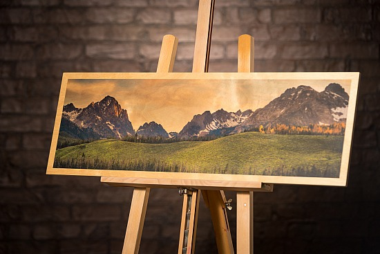 SAWTOOTH SUNRISE IN GREEN - WOOD  (12X36 IN)